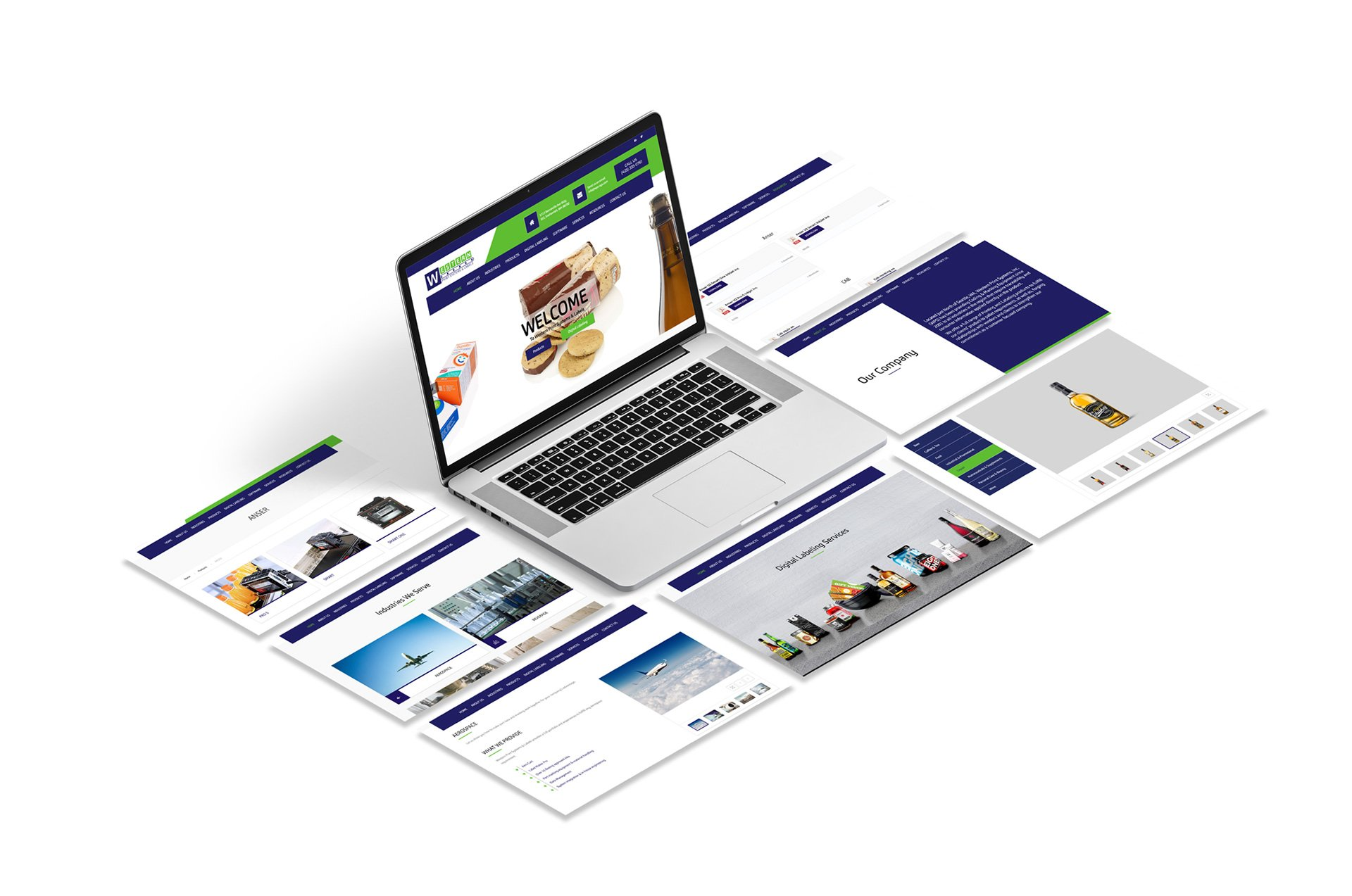 Western Print Systems Website Isometric Design White