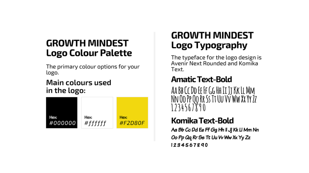 Growth Mindset Colors and fonts