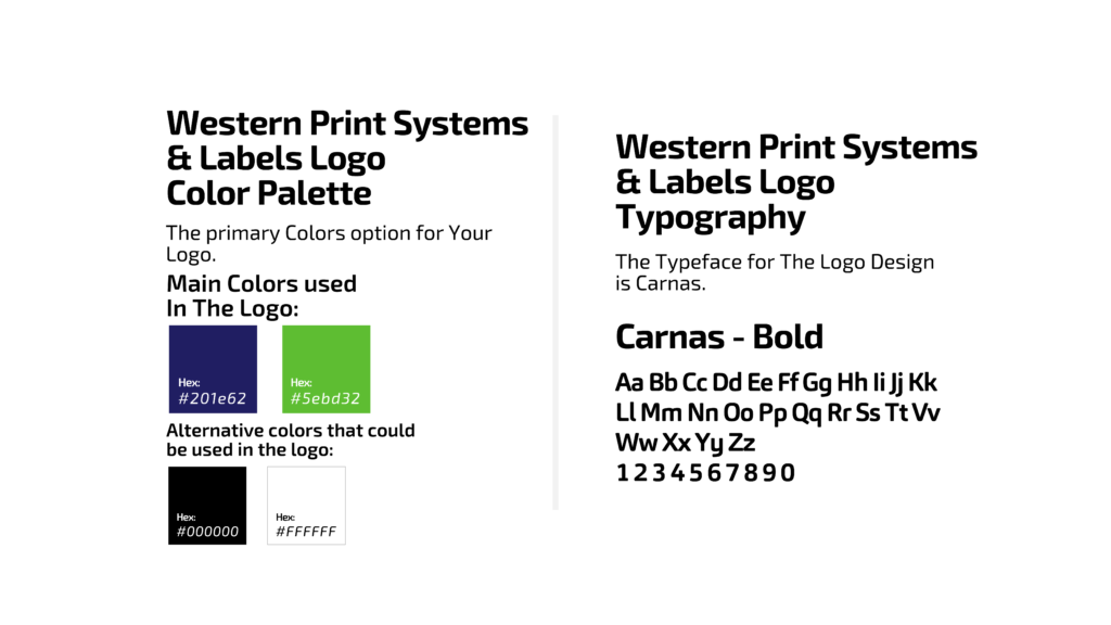 Western Print Systems brand colors & font