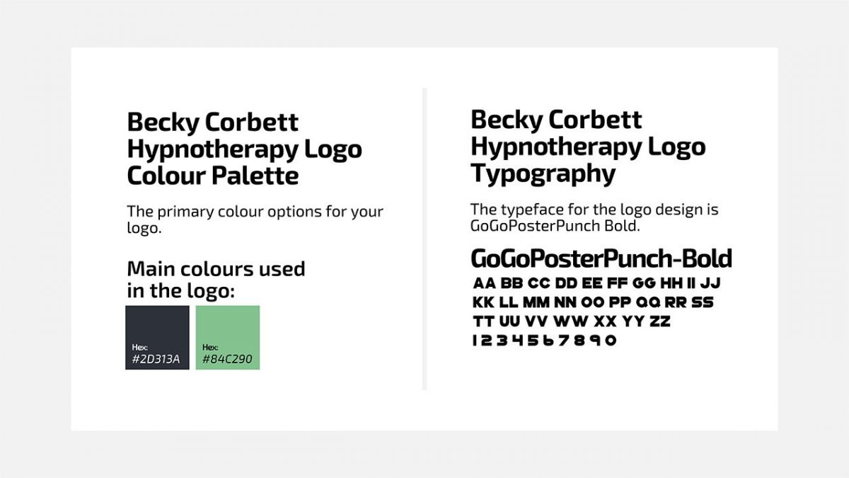 Becky Corbett Hypnotherapy Fonts & Colors